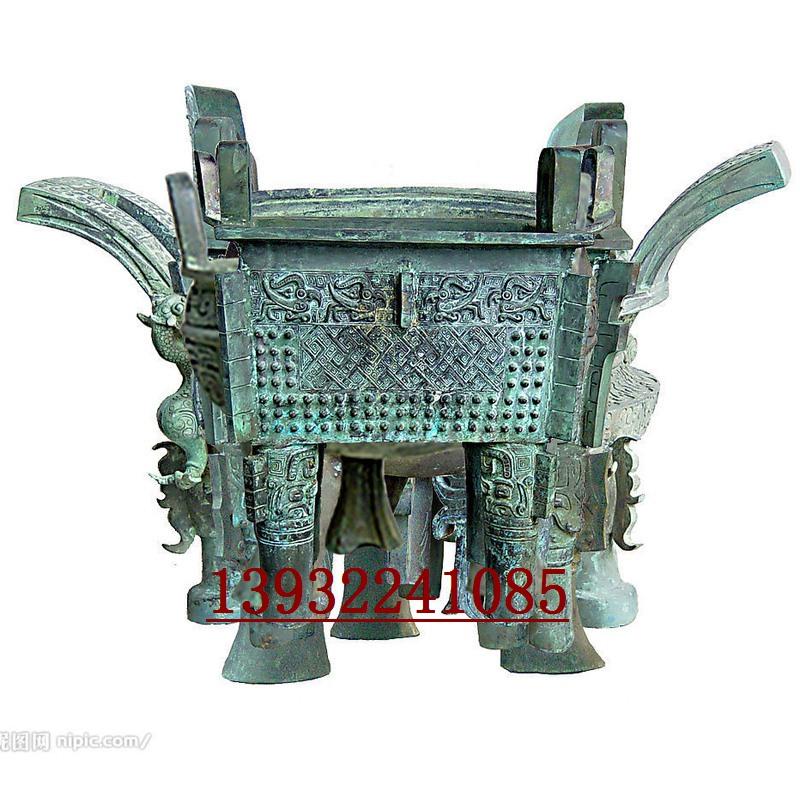 金属铸铜香炉方鼎雕塑制作